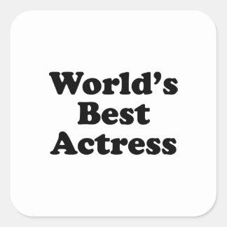 La mejor actriz del mundo calcomanías cuadradas personalizadas