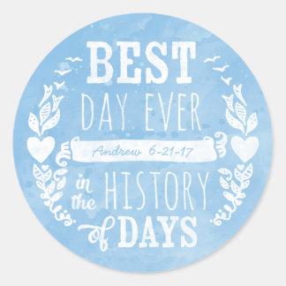 La mejor acuarela del día nunca, cumpleaños del pegatina redonda