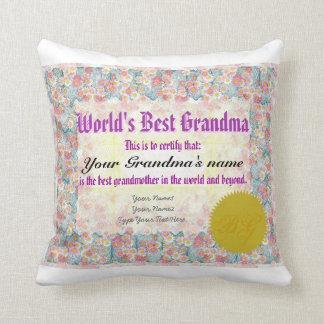 La mejor almohada del certificado del premio de la