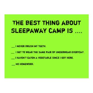 La mejor cosa sobre el campo de Sleepaway es… Postales