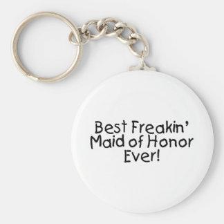 La mejor criada de Freakin del honor nunca Llavero Redondo Tipo Pin