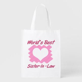 La mejor cuñada del mundo (corazón) bolsas de la compra