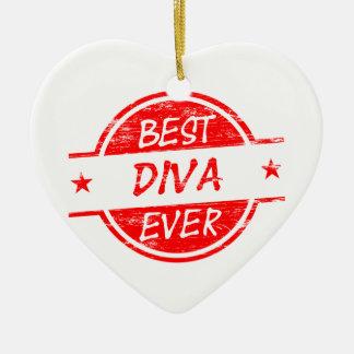 La mejor diva siempre roja adorno navideño de cerámica en forma de corazón
