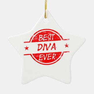 La mejor diva siempre roja adorno navideño de cerámica en forma de estrella