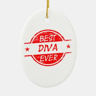 La mejor diva siempre roja adorno navideño ovalado de cerámica