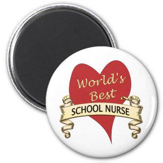 La mejor enfermera de la escuela del mundo imán redondo 5 cm