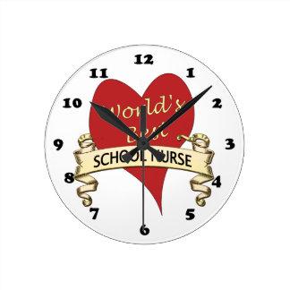 La mejor enfermera de la escuela del mundo reloj redondo mediano