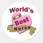 La mejor enfermera del mundo etiqueta redonda