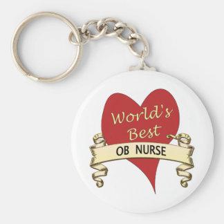 La mejor enfermera del OB del mundo Llavero Redondo Tipo Pin