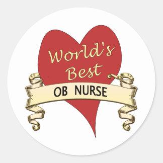 La mejor enfermera del OB del mundo Pegatina Redonda