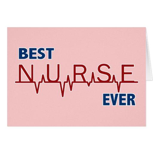 La mejor enfermera nunca tarjeta de felicitación