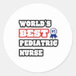La mejor enfermera pediátrica del mundo pegatina redonda