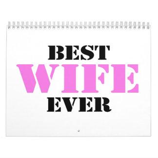 La mejor esposa nunca calendario de pared