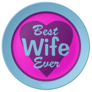 La mejor esposa nunca platos de cerámica