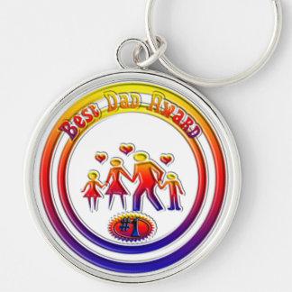 La mejor familia del arco iris del premio del papá llavero redondo plateado