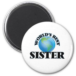 La mejor hermana del mundo imán redondo 5 cm