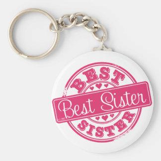 La mejor hermana - efecto del sello de goma llavero redondo tipo pin