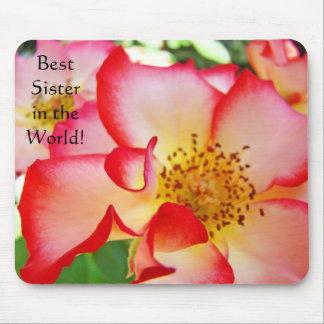 ¡La mejor hermana en el mundo! flor subió mousepad Tapete De Raton