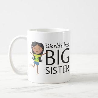 La mejor hermana grande con la taza feliz del chic