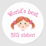 La mejor hermana grande de los mundos - chica peli pegatinas redondas