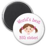 La mejor hermana grande de los mundos - pelo marró imanes