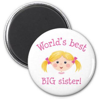 La mejor hermana grande de los mundos - pelo rubio imán de frigorifico