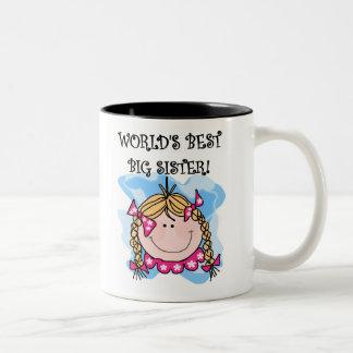 La mejor hermana grande del mundo rubio del chica tazas de café