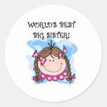 La mejor hermana grande del mundo trigueno etiqueta redonda