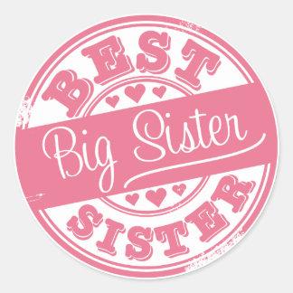 La mejor hermana grande - efecto del sello de goma pegatina redonda