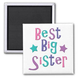 La mejor hermana grande imán cuadrado
