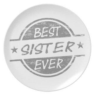 La mejor hermana siempre gris plato para fiesta