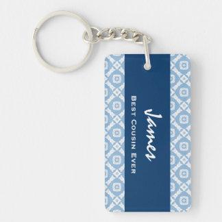 La mejor idea siempre azul del regalo del modelo d llavero rectangular acrílico a una cara