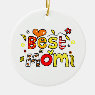 La mejor mamá adorno navideño redondo de cerámica