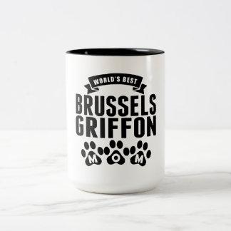 La mejor mamá de Bruselas Griffon del mundo Taza Dos Tonos