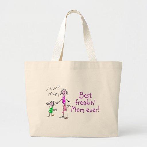 La mejor mamá de Freakin nunca (niño) Bolsa Tela Grande