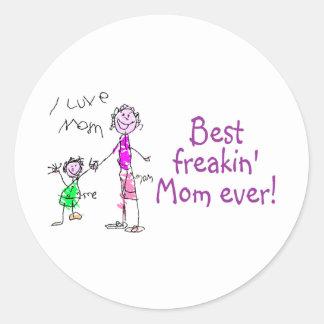 La mejor mamá de Freakin nunca (niño) Pegatina Redonda