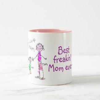 La mejor mamá de Freakin nunca (niño) Taza De Café De Dos Colores