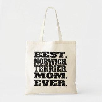 La mejor mamá de Norwich Terrier nunca Bolsa Tela Barata
