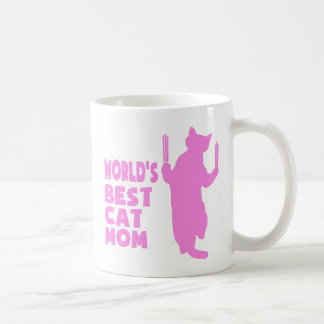 La mejor mamá del gato del mundo (rosa) taza de café