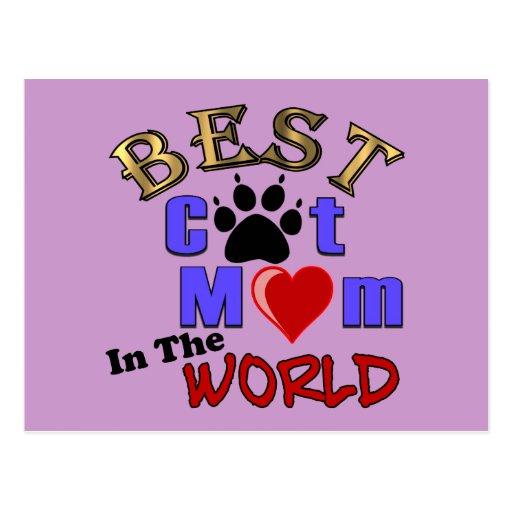 La mejor mamá del gato en los regalos del mundo pa tarjeta postal