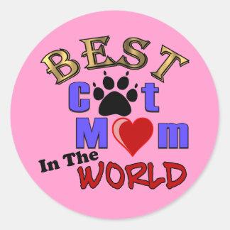 La mejor mamá del gato en los regalos del mundo pegatina redonda