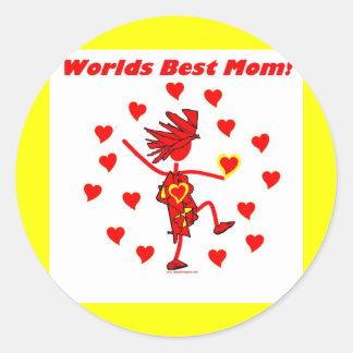 La mejor mamá del mundo - círculo del amor etiqueta redonda