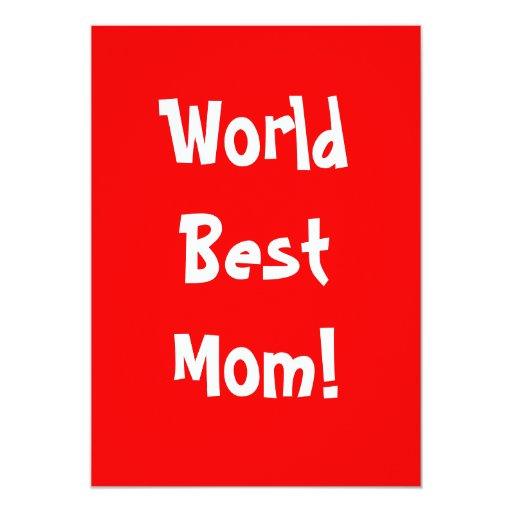 """La mejor mamá del mundo invitación 5"""" x 7"""""""