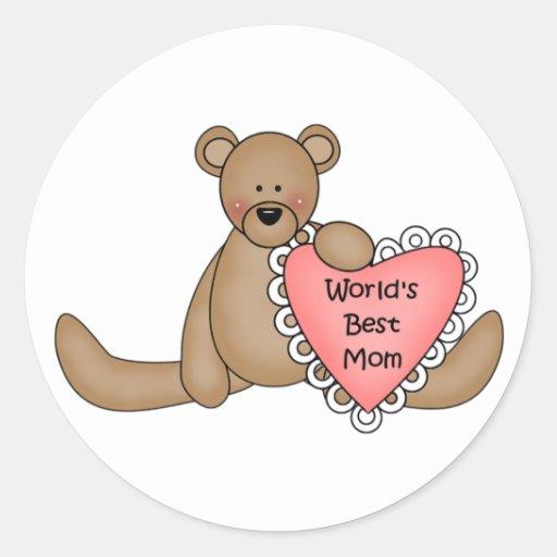 La mejor mamá del mundo pegatinas redondas