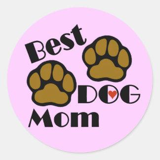 La mejor mamá del perro con mercancía de las patas pegatina redonda