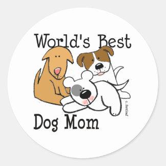 La mejor mamá del perro del mundo pegatina redonda