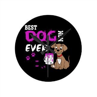 La mejor mamá del perro nunca reloj redondo mediano