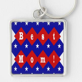 La mejor mamá en forma patriótica del diamante llavero cuadrado plateado