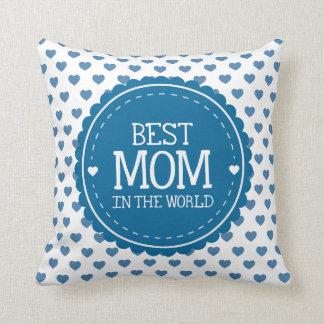 La mejor mamá en los corazones y el círculo azules cojín