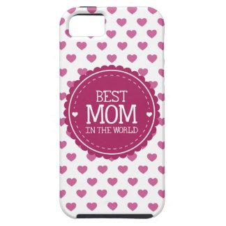 La mejor mamá en los corazones y el círculo del iPhone 5 fundas